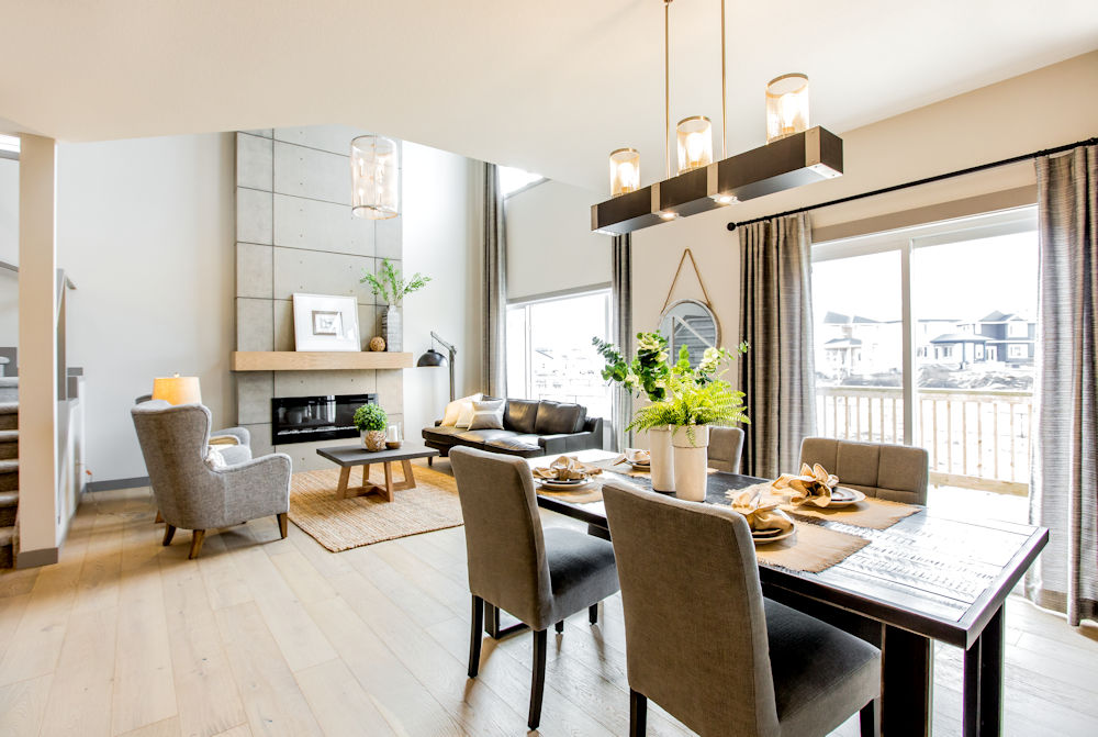 San Rufo Homes Spruce Grove 1239 Calahoo Road, Crystal Puim Photography Edmonton Showhome Photographer Dining Room