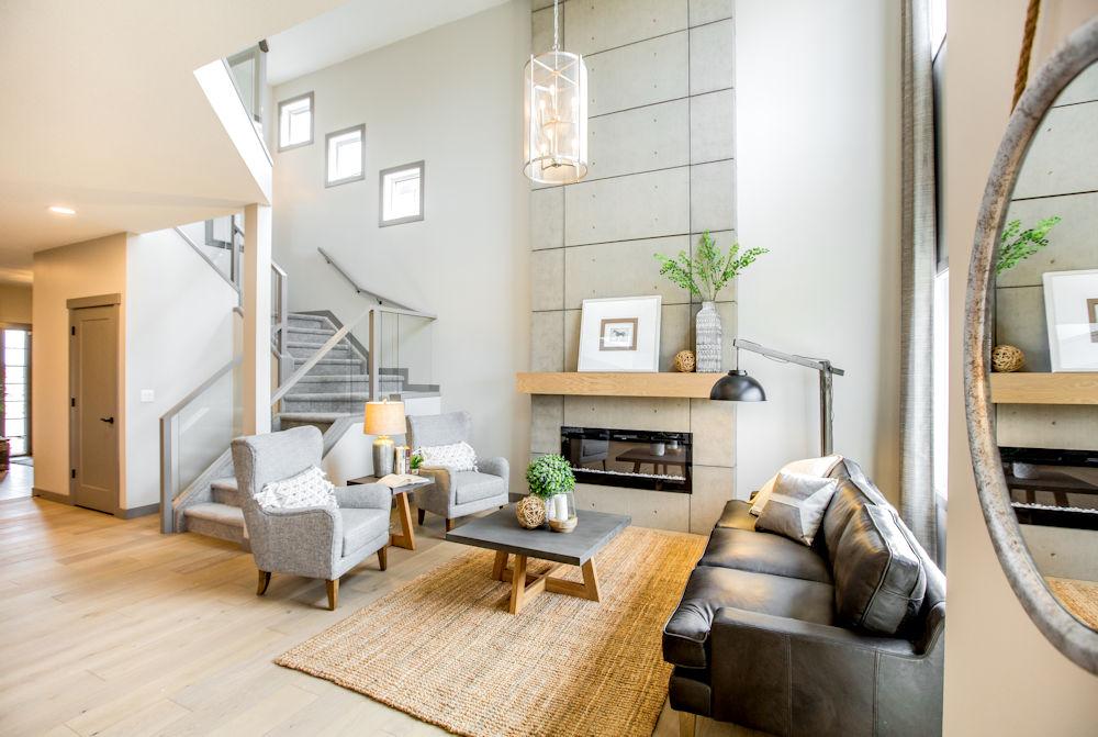 San Rufo Homes Spruce Grove 1239 Calahoo Road, Crystal Puim Photography Edmonton Showhome Photographer Livingroom