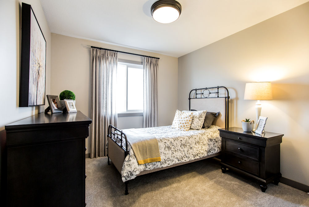 San Rufo Homes Spruce Grove 1239 Calahoo Road, Crystal Puim Photography Edmonton Showhome Photographer bedroom