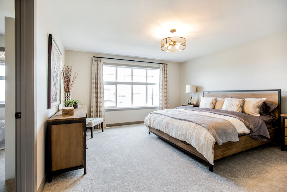 San Rufo Homes Spruce Grove 1239 Calahoo Road, Crystal Puim Photography Edmonton Showhome Photographer Master Bedroom