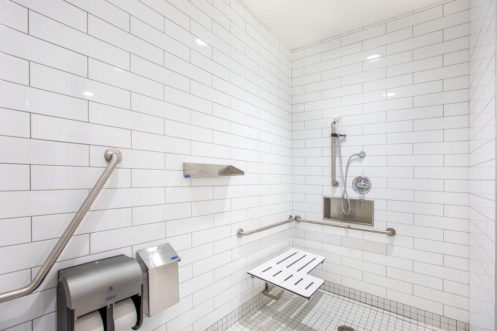 Bonnie Doon Leisure Centre Rehabilitation by Chandos Construction Ltd Photography by Crystal Puim Photography Commercial Photography Bathroom