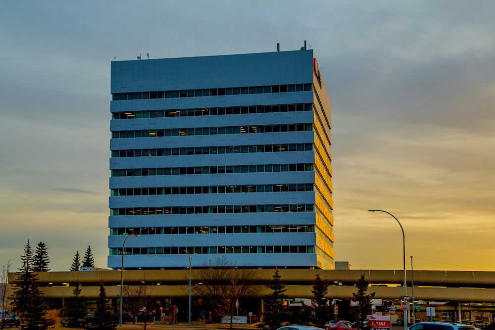 Exteriors and Cladding of ClarkBuilders Edmonton Office. Client Clark Builders. Photography by Crystal Puim Photography Edmonton Alberta Canada. Shot at dawn.